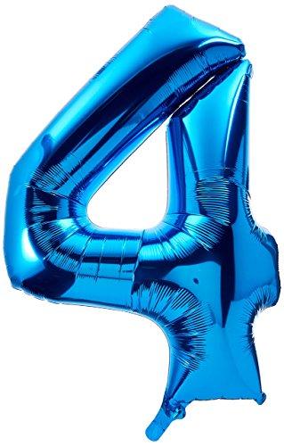 amscan Ballon Mylar Bleu Chiffre 4 - Taille Unique