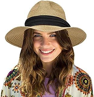 قبعات شمس شاطئية مرنة بحافة واسعة للنساء قبعة بنما فيدورا UPF50 قبعة قش للرجال