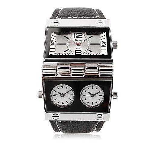 iWatch Herren Armbanduhr Japanisches Quarz Analog mehrere Zeitzonen Outdoor Freizeit Uhr mit Weiß Zifferblatt und Schwarz Leder Armband