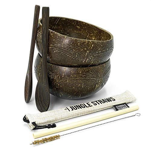 Jungle Culture® Bols Noix de Coco et Cuillères en Bois | 2 Bols Coco Recyclées, Paille Bambou, Pochette et Brosse | Poke Smoothie Buddha Bowl | Coconut Bowls Naturel | Cadeau Vegan Ecolo | Zéro Déchet