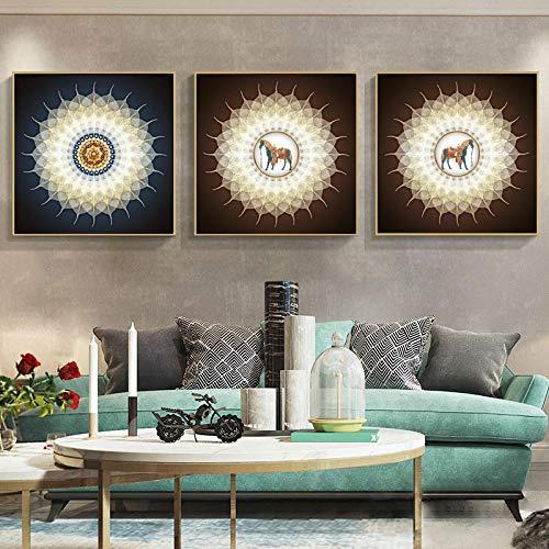 wydlb abstracte bloemen posters en prints muurkunst canvas schilderkunst, gouden roos foto's voor woonkamer wooncultuur 50x50cmx3 zonder lijst