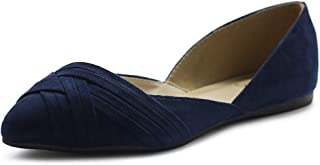 Women's Shoe Faux Suede Light Comforts D'Orsay Pointed Toe Braided Ballet Flat F85