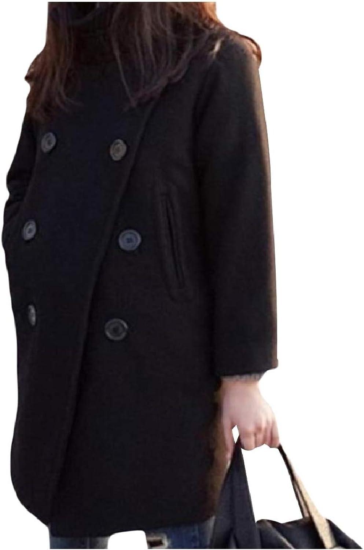 Baseby Women Baggy Oversized Woolen Overcoat Double Button Parka Outwear