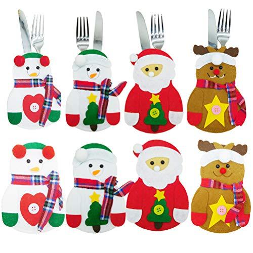 MOTOULAX Cubiertos de Navidad, Mini Porta Cenas de Navidad, Cuchillos, Tenedores, Cubiertos, Bolsas, Bolsas de...