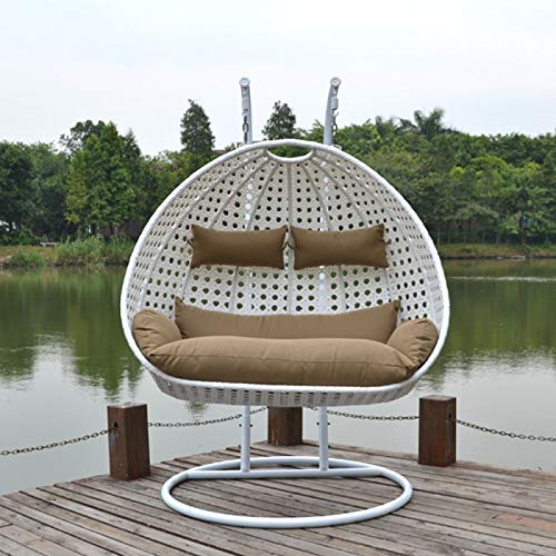 Carry Bird Swing Basket Chair with Curve Stand for Kid's and Adult,Cushion & Hook/Multi color-1Outdoor/Indoor/Balcony/Garden/Patio White Double Swing, Beige Colour Cushion