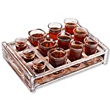 Shot Glass Holder, Wood Shot Glass Serving Tray, Shot Glass Server, 12 Storage Holes for Almost All Kinds of Shot Glasses. Rustic Shot Holder for Shot Glass Collectors (Shot Glass Not Included)