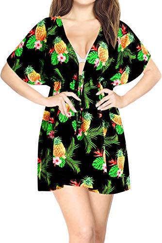 LA LEELA Robe de Plage Femme Ete Bohême 3D HD Tuniques Cordon de Serrage Col V Casual Blouse Bikini Cover Up Paréo Couverture Maillots de Bain Swimsuit Beachwear Mini Dress Halloween Noir_A321