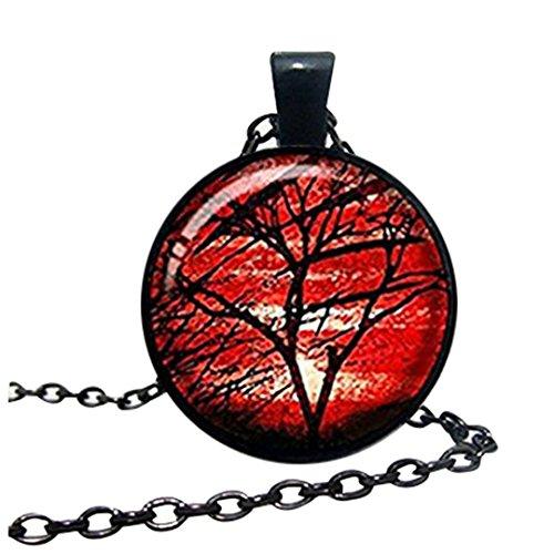 Hermoso collar de árbol de la vida, joyería roja del árbol de la vida, colgante de árbol de la vida, joyería hecha a mano, idea de regalo familiar de amigos