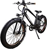 NAKTO 26' 300W Fat Tire Electric Bicycle Shimano 6-Speed-Gear Mountain Ebike with Removable 36V10A Lithuim Battery and Charger