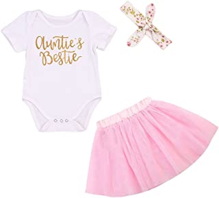 744e5d5812c 3Pcs Set Newborn Baby Girl Summer Outfit Auntie Bodysuit Romper with  Headband+Pink Tutu