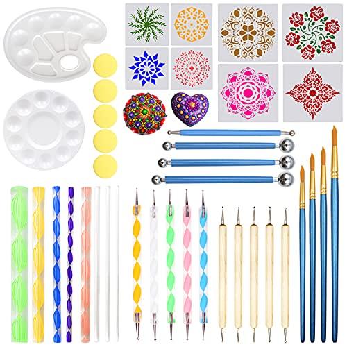 Mandala narzędzia do malowania skał obraz mandala zestawy szablonów szczotki z tacą do malowania paznokci kolorowanie rysowanie i rysowanie materiałów artystycznych (41 szt.)