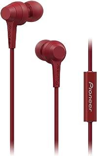 Pioneer C1 In Ear Kopfhörer (kabelgebunden) mit inline Fernbedienung, Freisprechfunktion, verwindungsfreies Kabel, kompakte Ohrhörer, hervorragende Klangqualität, Industrie Design, Rot