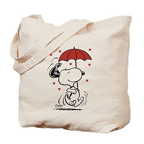 CafePress Snoopy On Heart Natural Canvas Tote Bag, Reusable Shopping Bag