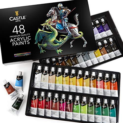 Castle Art Supplies 48 22ml Large Acrylic Paints Sets for Adults Artists Beginners | Vibrant Colors | The Premium Acrylics Paint Set