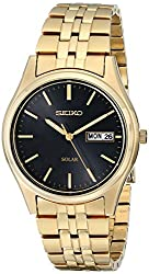 Seiko Men's SNE044 Gold Tone Solar Black Dial Watch - the full details