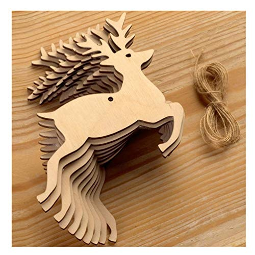 EJY Lalang Rustic Wooden Bauble Hanging Decor Christmas Wedding Party Bunting Decoration (dancing deer)