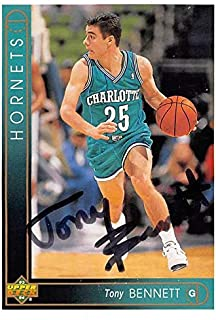 Tony Bennett autographed basketball card (Charlotte Hornets) 1993 Upper Deck #97 - Basketball Autographed Cards