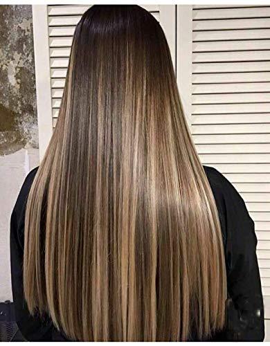 LaaVoo 22 Pouce Perruque Femme Vrai Cheveux Naturel 150% Densité Brazilian Hair Wig Marron Foncé Surligné Blonde au Miel Partie Libre avec Cheveux Bébé#P4/27