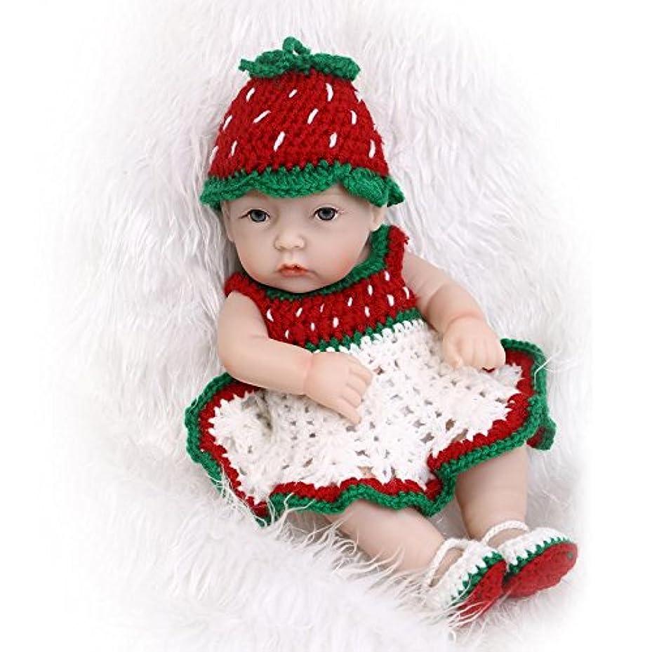 センブランス代理人忙しいNPKDOLL アクリルアイズとリボーンベビードールハードシミュレーションシリコーンビニール11インチ 28センチメートル防水バス児童玩具プレゼント赤緑の帽子の少女 Reborn Baby Doll A1JP