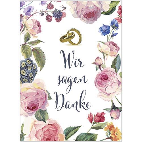 15 x Hochzeits-Dankeskarten - Blumen Rosen Eheringe Wir sagen Danke - Danksagungskarten für Ehepaare um Danke zu sagen nach Hochzeit, Polterabend oder Hochzeitsfeier