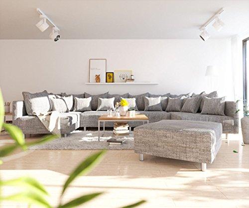 DELIFE Couch Clovis XL Hellgrau Strukturstoff mit Hocker Wohnlandschaft