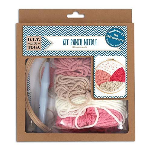 DRAEGER PARIS 1886 Kit de iniciación Punch Needle, plástico, Lana rosa y beige, Taille...