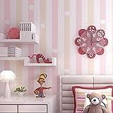 Habitación infantil habitación princesa papel pintado no tejido azul rosa rayas verticales dormitorio niño niña habitación pape papel pintado a papel pintado pared dormitorio autoadhesivo-350cm×256cm