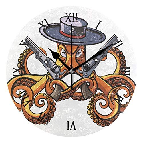 Ahomy Octopus - Reloj de Pared con número de Pistolas, 24 cm, Redondo, silencioso, Funciona con Pilas, fácil de Leer, para casa, Oficina, Escuela