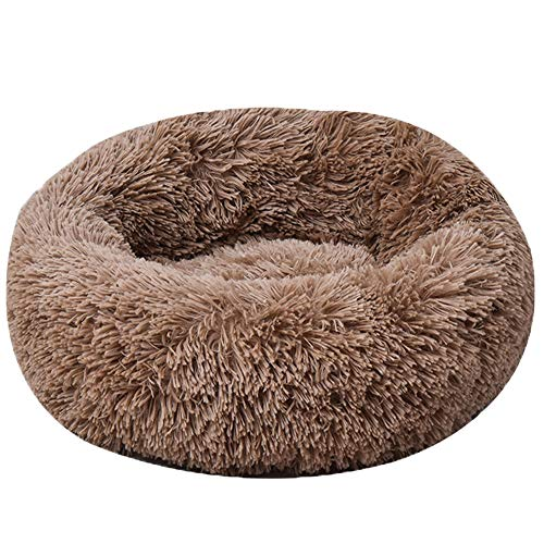 HARESLE Brown Round Pet bed, Calming Bed Plush Nest Warm Soft Cushion Donut Cuddler Cat Dog Puppy Comfortable for Sleeping Winter (50CM)