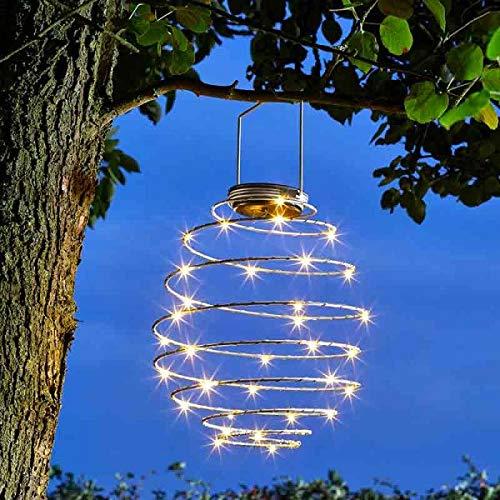 Lights4fun Spiral H/ängelaterne solarbetrieben mit 45 Warmwei/ßen Micro LEDs