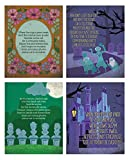 Haunted Mansion Themed Halloween Wall Art Prints Set includes: Four (4) Halloween Art Prints with song lyrics Bright and Colorful with darling graphics. Perfect Halloween decor. No frames included. 8x10in. size - perfect size for cost effective frame...