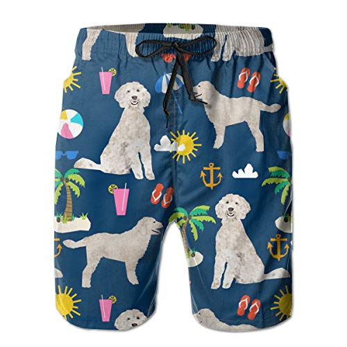 YongColer Men's Goldendoodle Dog Beach Puppy Short Swim Trunks Best Board Shorts for Sports Running Swimming Beach Surfing Quick Dry Breathable Bathing Suits Beach Holiday Party Swim Shorts(XL)