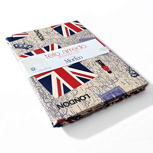 Morfeo Telo Arredo Copridivano Copritutto Copritavola Copriletto UK Impero Britannico Puro Cotone