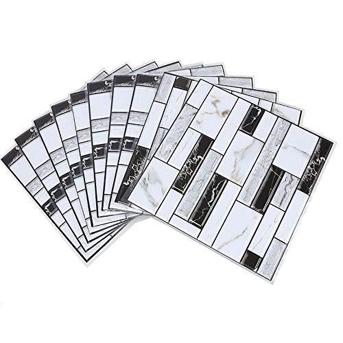 Fulllove 10 Pezzi Adesivi Piastrelle Muro 3D PVC Mattonelle Auto-Adesivo Decorativo Gel Rivestimento Parete Cucina Bagno Mosaico,30 x 30 cm
