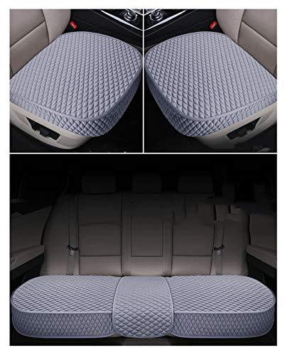 QSWL Funda de cojín transpirable para asiento interior de coche, para coche, 2 asientos delanteros y 1 trasero (color gris, tamaño: 135 x 50 x 53 x 52 cm)
