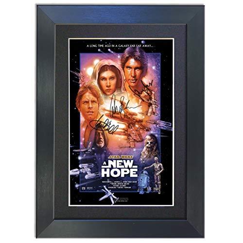 Póster de Star Wars New Hope A3 297 x 420 mm enmarcado de la película en color negro, firmado para regalo con autógrafo, impresión de regalos