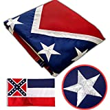 Winbee Mississippi State Flag 3x5 Ft - Embroidered Stars and Sewn Stripes, Long Lasting Nylon Perfect for Outdoor Use, Sturdy Brass Grommets, UV Protected, US Flags Mississippi