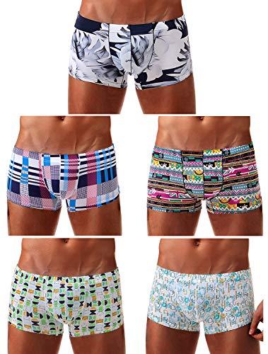 Arjen Kroos Herren Boxershorts Unterwäsche für Männer Men Sexy Boxer Shorts Briefs mit Muster Trunk Retroshorts Retropants Unterhosen Hipster, Mehrfarbig (5er Pack), L(80-88cm)