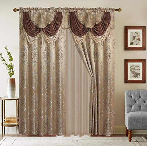 Rod Pocket Jacquard Window 63 Inch Length Curtain Drape Panels w/ attached Valance + Sheer Backing + 2 Tassels - 63
