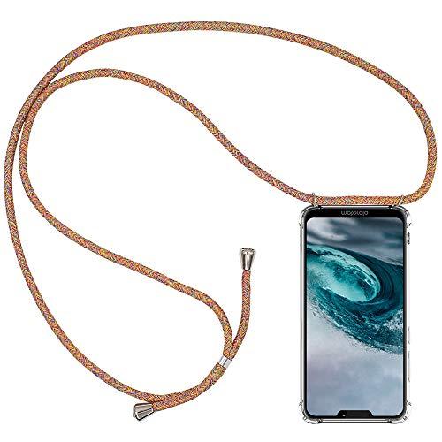 CLM-Tech Handykette kompatibel mit Motorola Moto G7 Power - Hülle mit Kordel zum Umhängen - Silikon Schutzhülle transparent mit Band Schnur, Regenbogen bunt