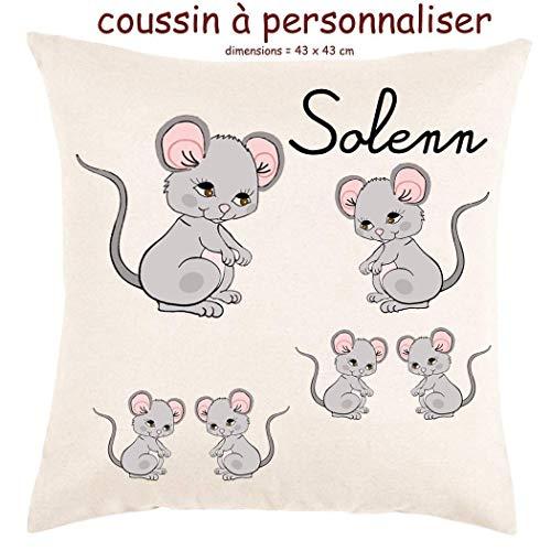 Coussin avec sa Housse Souris Toucher très Doux Personnalisable avec un Prénom Exemple Solenn