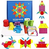 Yuhualiyi123 155 Pcs Wooden Puzzle Blocks Tangram Toys For Kids, Colourful Building Blocks Educational Geometric Jigsaw Maths Game Set Tangram Puzzle With 24 Design Cards
