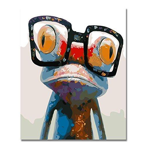 BOSHUN Malen nach Zahlen DIY Ölgemälde für Kinder Erwachsene Anfänger- Netter Frosch 16x20 Zoll Leinwanddruck Wandkunst Dekoration (Ohne Rahmen)