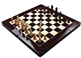 ATILLA TAVLA - 3in1 XXL Brettspiel NEU mit Tragetasche - TAVLA - Schach- Dame - BUCHSBAUM SPIELSTEINE - 48x48cm Edelholz Optik -