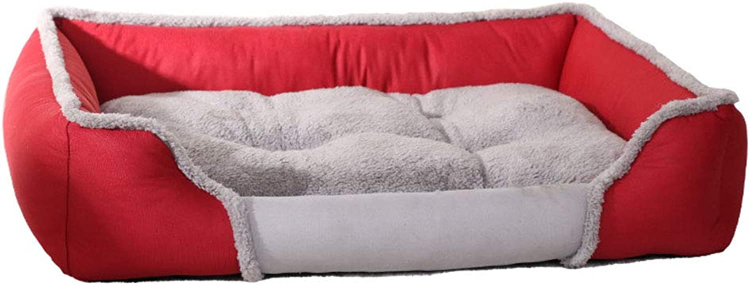 HenLooo Deluxe Pet Bed for Cats and Small Medium Dogs Rectangle Cuddler with Soft Detachable Cushion (Red),S