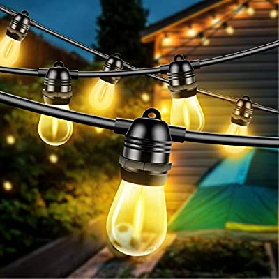 Otdair 27ft Solar String Lights Outdoor, Waterproof Patio Lights with 12 Edison Bulbs +1 Spare Bulb, Shatterproof Hanging Lights Decorative for Porch Backyard Party Warm Light