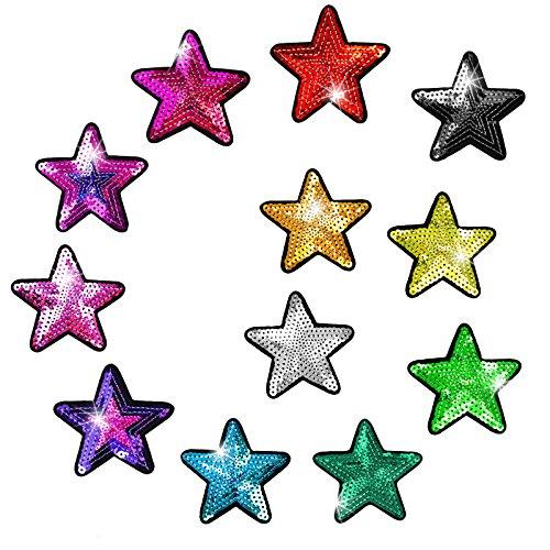 12 Pailletten-Aufbügler Aufnäher Stern Paillettenstern Patch 70mm Farbmix