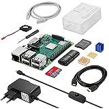 Vemico Raspberry Pi 3 Modelo B + (B Plus) Kit de Inicio con Tarjeta SD de 32 GB Ventilador Carcasa disipador de Calor CAT6 Cable de Red Srewdriver Fuente de alimentación y Lector de Tarjetas