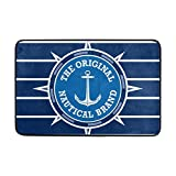 Bennigiry Zerbino decorativo per porta d'ingresso, antiscivolo, blu bianco emblema nautico con ancora, lavabile, personalizzato, 59,9cm (lunghezza) x 39,9cm (larghezza)