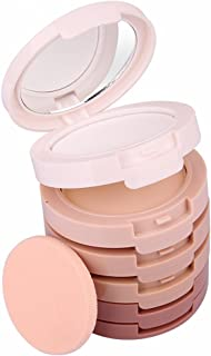 Pure Vie Professional 5 Colours Large Face Press Powder Foundation-Sleek Makeup Contour Palette Highlighting Concealing Bronzer Set - Minimizes Pores & Perfects Skin, Sets Makeup, Long-lasting